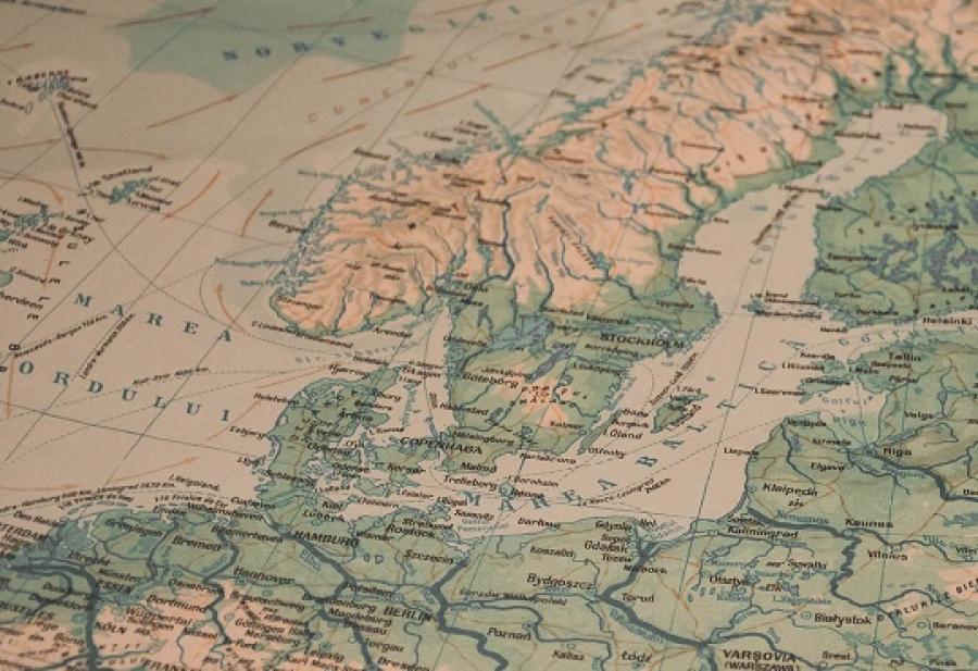 Billede af et kort der viser Danmark, Sverige og Norge