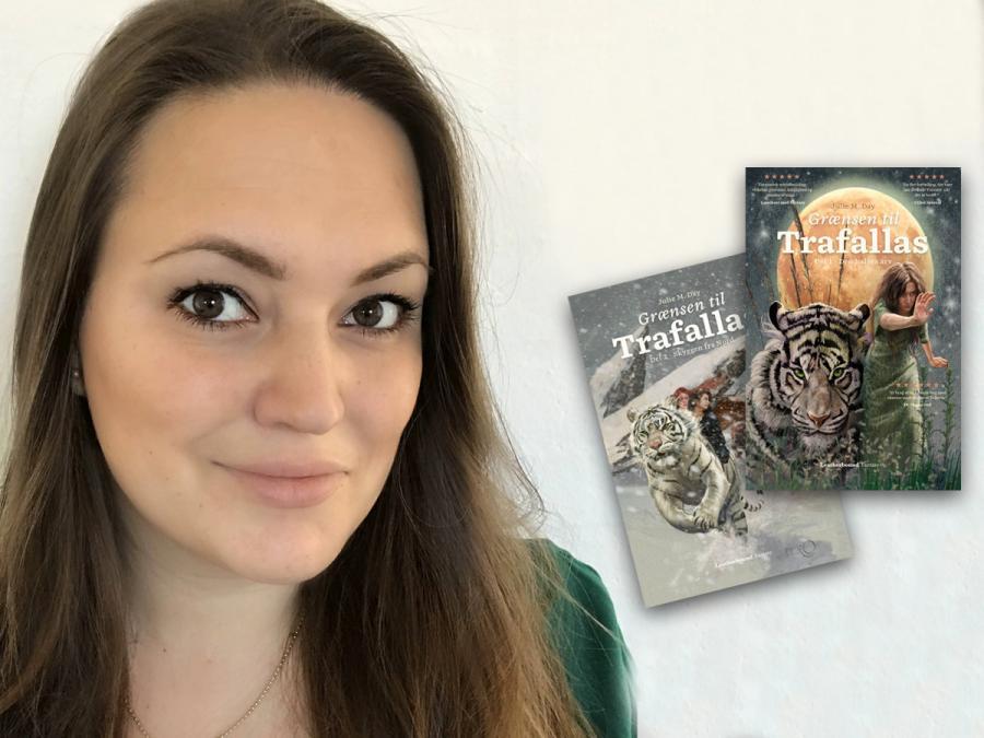 Billede af fantasyforfatter Julie M. Day og serien Grænsen til Trafallas