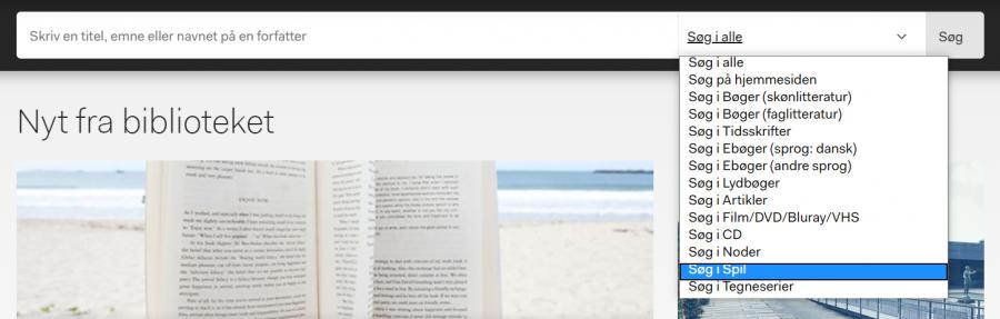 Brug muligheden for at begrænse din søgning, til kun at søge efter spil på bibliotekets hjemmeside.