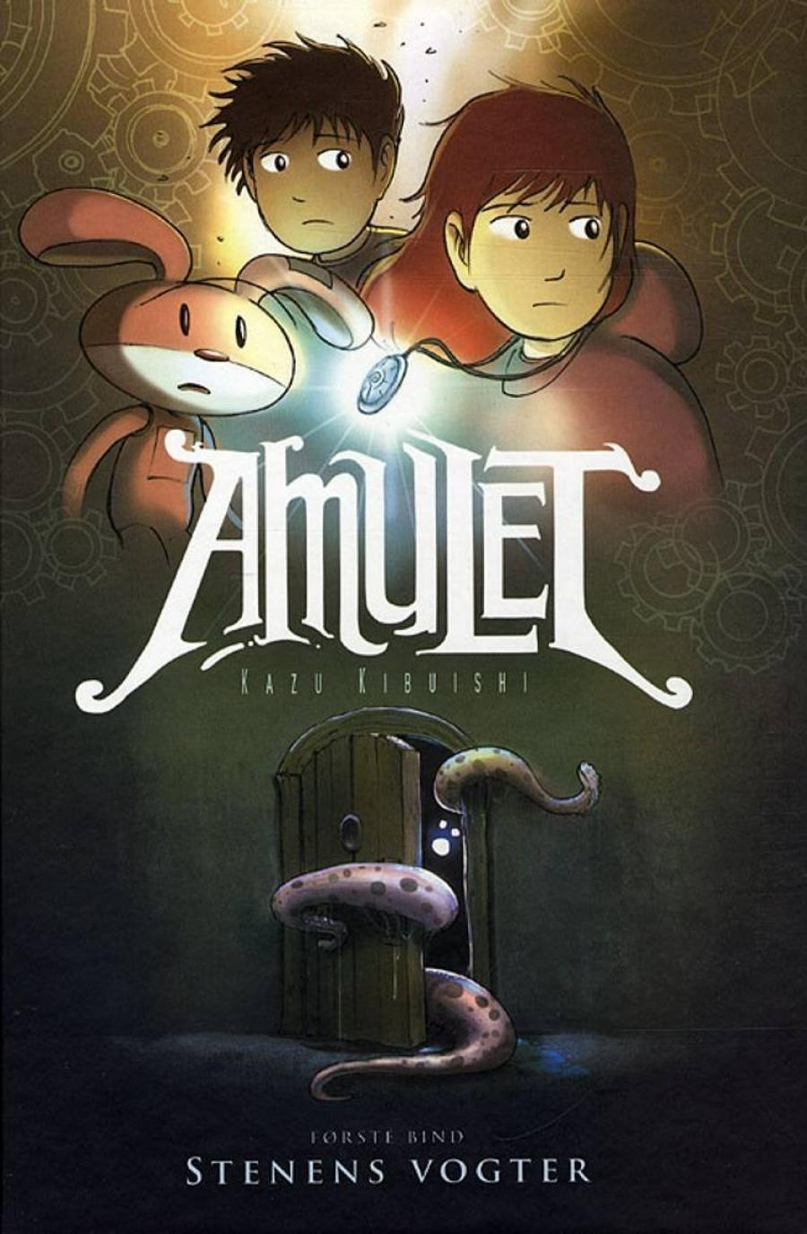Forsidebillede af tegneserien Amulet 1 Stenens vogter af Kazu Kibuishi