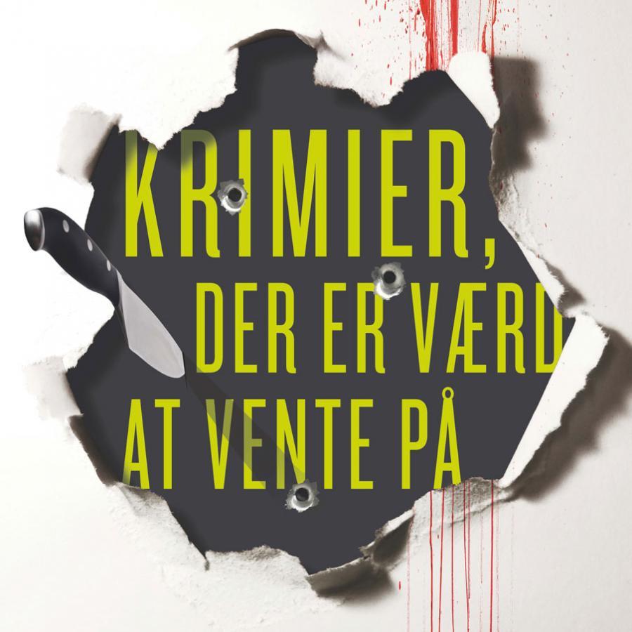 Billedforside på emneliste: Krimier der er værd at vente på. Forestiller en kniv der skærer tapet over. Bagved ses teksten. Der er blodspor ned af tapetet.