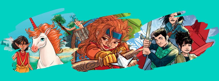 Fantasifuldt billede der illustrerer karakterer fra Forlaget Alvildas børnebøger