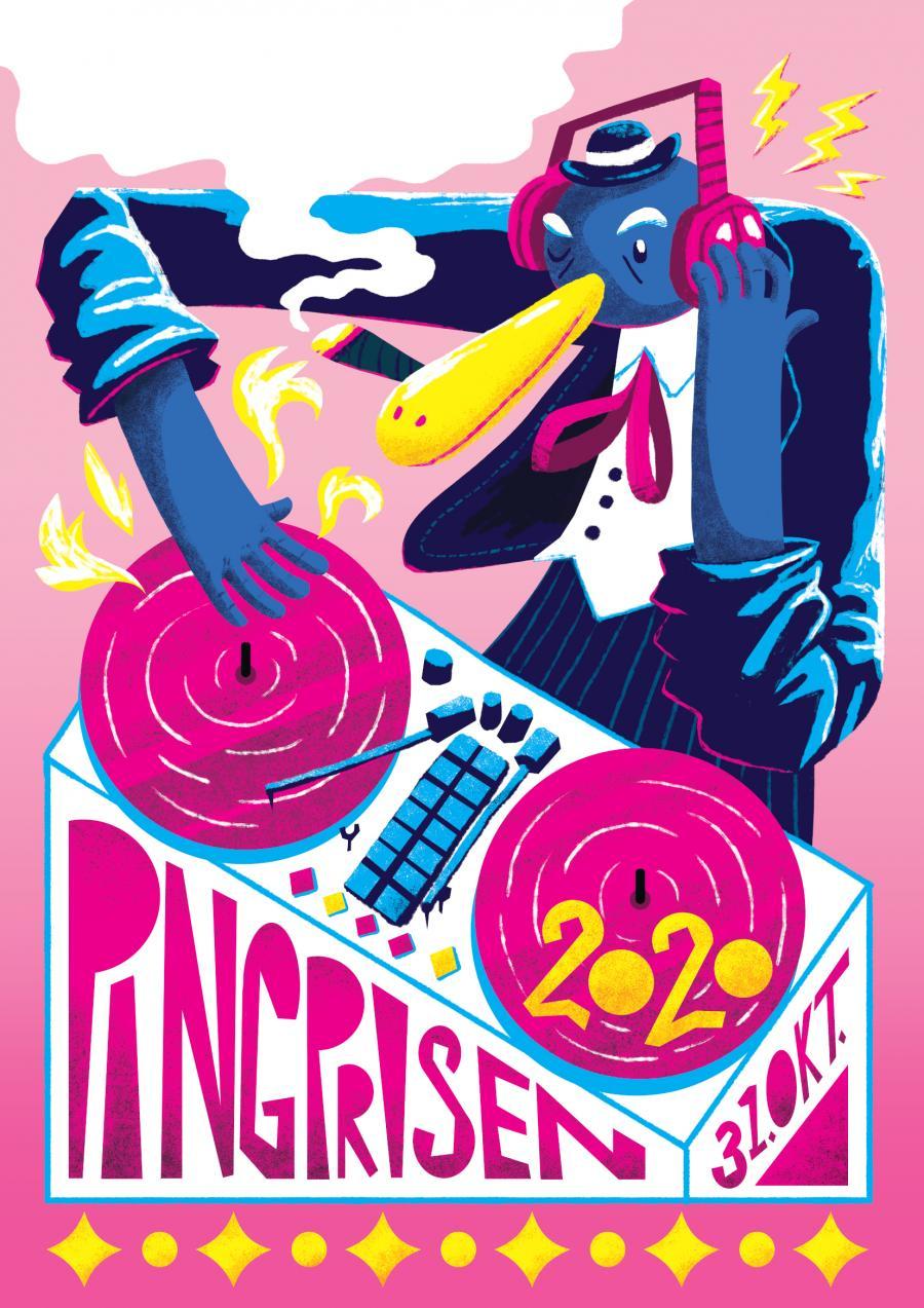 Plakat til Pingprisen 2020, tegnet af Line Høj Høstrup