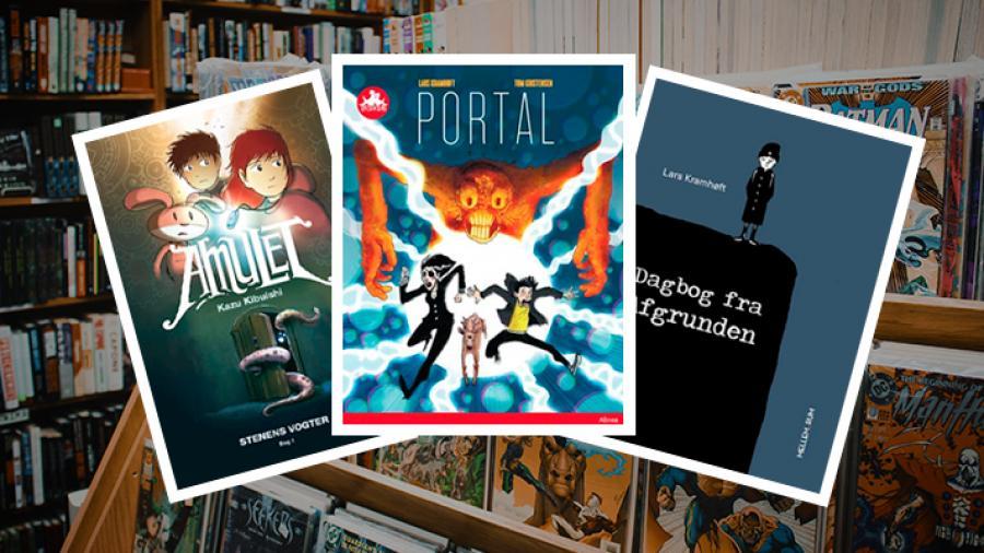 Billede af de tre omtalte tegneserier